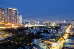 Saigon bij nacht Royalty-vrije Stock Foto's
