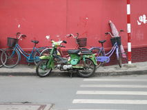 Saigon Bikes, Vietnam. Retro Bikes on Saigon Street, Vietnam Stock Photos