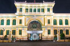Saigon Central Post Office building at night royalty free stock photo