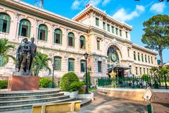 Saigon Central Post Office in Ho Chi Minh city, Vietnam. View of Saigon Central Post Office in Ho Chi Minh city, Vietnam. Steel structure of the gothic building stock image