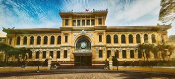 Saigon Central Post Office, Vietnam. Panorama. Saigon Central Post Office in the downtown Ho Chi Minh City, Vietnam. Panorama royalty free stock image