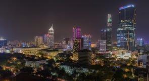 Saigon Ho Chi Minh Cityscape Nightlife Asien Royaltyfri Fotografi