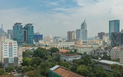 Saigon Ho Chi Minh Skyline Cityscape Asien Arkivbild