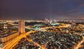 Saigon, Hochiminh miasto nocą/ Fotografia Stock