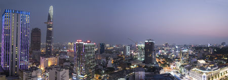 Saigon nachts (Ho Chi Minh City) Stockfotos