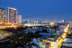 Saigon at night Royalty Free Stock Photography
