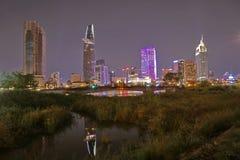 Saigon night - Ho Chi Minh city night. View rive Sai Gon in Thu Thiem, 2 Dictrict Royalty Free Stock Images