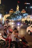 Saigon night traffic Royalty Free Stock Image