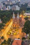 SAIGON Notre Damae katedra (wietnamczyk: SAIGON WIETNAM, KWIECIEŃ - 08, 2016 - Nha Tho Duc półdupki w daylife) Zdjęcie Royalty Free