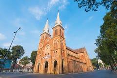 Saigon Notre Dame Basilica en Tet Imagen de archivo libre de regalías
