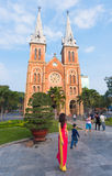 Saigon Notre Dame Basilica on Tet, Vietnam Stock Photo