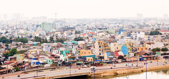 Saigon op vochtige en smoggy dag Stock Foto