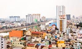 Saigon op vochtige en smoggy dag Stock Foto's