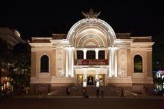 Saigon opera nocą Zdjęcia Royalty Free