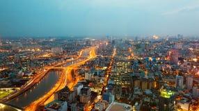 Saigon panorama of the city at night Royalty Free Stock Images