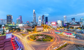 Saigon que chispea en la noche Imagen de archivo