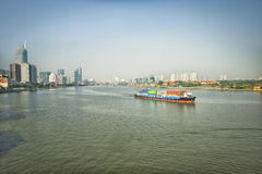 Saigon River, Ho Chi Minh City, Vietnam stock images