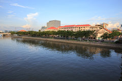 Saigon riverside view at downtown center with buildings across riverside Saigon river Ho Chi Minh City Stock Photos