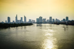 Saigon skyline with river, Vietnam. Very high resolution, 42.2 megapixels. Ho Chi Minh City formerly named Saigon, is the largest city in Vietnam. Urban royalty free stock photo