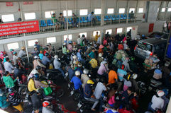 Passenger on ferry-boat. SAIGON, VIET NAM- JANUARY Royalty Free Stock Photo