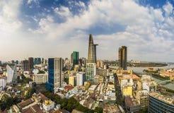 SAIGON, VIETNAM - APRIL 20, 2016 - Top view of Saigon River at night time Royalty Free Stock Photos