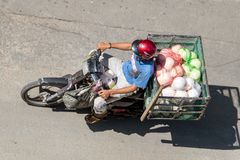 Delivery of fresh fruits in the streets of Ho Chi Minh city stock photo