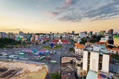 Saigon, Vietnam - 09 December 2014: Front side of Ben Thanh market and the surroundings in sunset, Saigon, Vietnam Stock Images
