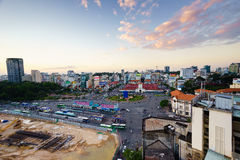Saigon, Vietnam - 09 December 2014: Front side of Ben Thanh market and the surroundings in sunset, Saigon, Vietnam Royalty Free Stock Photos