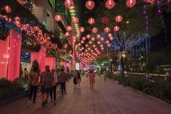 SAIGON, VIETNAM - 19 F?VRIER 2018 - d?coration de TET au mail de jardin, un centre commercial plus grand ? la ville de la Chine,  image stock