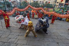 SAIGON, VIETNAM - FEB 15, 2018 - Dragon and lion dance show in chinese new year festival. Dragon and lion dance show in chinese new year festival at Ho Chi Minh Stock Photo
