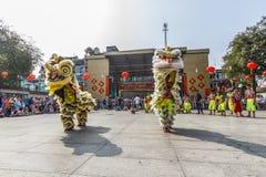 SAIGON, VIETNAM - Februari 18, 2015: Draak en leeuw de dans toont in Chinees nieuw jaarfestival Royalty-vrije Stock Afbeelding