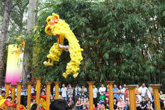 Saigon Vietnam - 03 Februari 2014: Lejondans på blommapelare (Mai Hoa Thung) på Tao Dan Park på det mån- nya året Arkivfoton