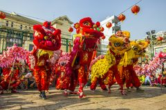 SAIGON, VIETNAM - February 18, 2015 : Dragon and lion dance show in chinese new year festival. Dragon and lion dance show in chinese new year festival royalty free stock photos