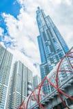 Saigon/Vietnam, im Juli 2018 - Markstein 81 ist ein super-hoher Wolkenkratzer z.Z. im Bau des Vinhomes-Central Park-Projektes stockbilder