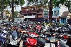 Saigon, Vietnam, Januar, 20, 2015 Niemand, Motorräder ist auf der Straße in Saigon Lizenzfreie Stockbilder