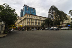 SAIGON, VIETNAM - 23 januari, 2017 - een hoek van Continentaal Hotel Saigon royalty-vrije stock fotografie