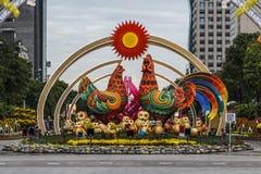 SAIGON, VIETNAM - 23 januari, 2017 - Nguyen Hue-het lopen straat en bloemstraat tijdens Maannieuwjaar bij de stad in van Ho Chi M Stock Fotografie
