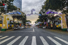 SAIGON, VIETNAM - 23 januari, 2017 - Nguyen Hue-het lopen straat en bloemstraat tijdens Maannieuwjaar bij de stad in van Ho Chi M Royalty-vrije Stock Afbeeldingen