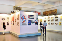 Saigon, Vietnam, January, 20, 2015. Tourists visiting the exhibits in the Vietnam war Museum in Saigon Royalty Free Stock Photography