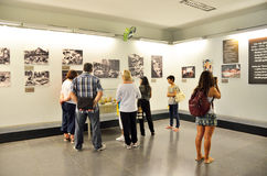 Saigon, Vietnam, January, 20, 2015. Tourists visiting the exhibits in the Vietnam war Museum in Saigon Stock Images