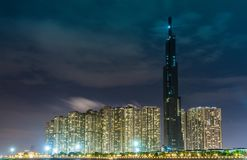 Saigon / Vietnam, July 2018 - Landmark 81 is a super-tall skyscraper currently under construction of Vinhomes Central Park Project. In Ho Chi Minh City, Vietnam royalty free stock photography