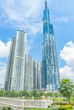 Saigon / Vietnam, July 2018 - Landmark 81 is a super-tall skyscraper currently under construction of Vinhomes Central Park Project. In Ho Chi Minh City, Vietnam royalty free stock images