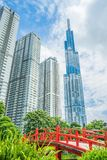 Saigon / Vietnam, July 2018 - Landmark 81 is a super-tall skyscraper currently under construction of Vinhomes Central Park Project. In Ho Chi Minh City, Vietnam stock photography
