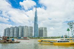 Saigon / Vietnam, July 2018 - Landmark 81 is a super-tall skyscraper currently under construction of Vinhomes Central Park Project. In Ho Chi Minh City, Vietnam stock image