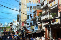 Saigon, Vietnam-March 8, 2015: The streets of Saigon (Ho Chi Min City) full of wires. Stock Images