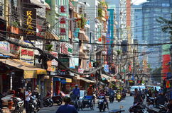 Saigon, Vietnam-March 8, 2015: The streets of Saigon (Ho Chi Min City) full of wires. Royalty Free Stock Image