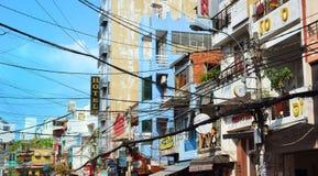 Saigon, Vietnam-March 8, 2015: The streets of Saigon (Ho Chi Min City) full of wires. Stock Photo