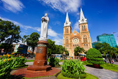 SAIGON, VIETNAM - 07 November 2014: Notre Dame Cathedral Vietnamese: Nha Tho Duc Ba, build in 1883 in Ho Chi Minh city. Notre Dame Cathedral Vietnamese: Nha Tho Stock Photos