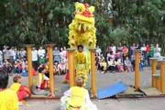 Saigon, Vietname - 3 de fevereiro de 2014: Dança do unicórnio em colunas Mai Hoa Thung da flor em Tao Dan Park Imagens de Stock