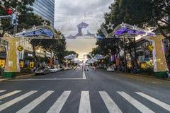SAIGON, VIETNAME - 23 de janeiro de 2017 - rua de passeio de Nguyen Hue e rua da flor durante o ano novo lunar na baixa de Ho Chi Imagens de Stock Royalty Free